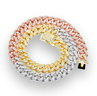 12mm Iced Mixed Color Cuban Chain Necklace 28inch