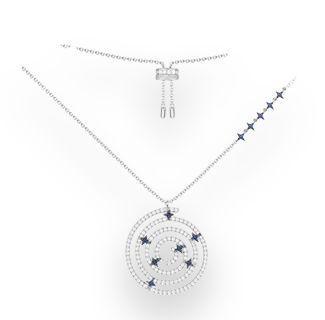 SLJELY 925 Sterling Silver Mysterious Circle Spiral Mandala Necklace with Zircon Blue Stars