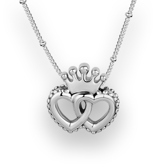 Interlocked Crown Hearts Pendant 925 Sterling Silver  Necklace