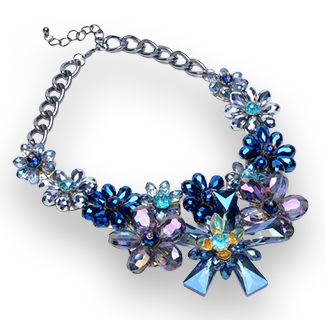 Blue Fashion Crystal Flowers Necklace