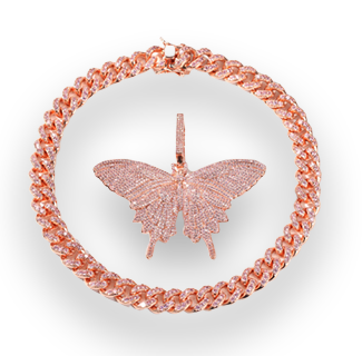 UWIN Rose Gold Iced Zircon Butterfly Pendant with Cuban Chain Necklace