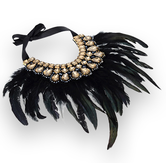JEROLLIN Black Feathered Shiny Crystals Charm Choker Necklace
