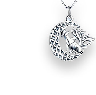 Nine Tail Fox Pendant YFN 925 Sterling Silver Necklace