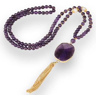 CSJA Purple Crystal Pendant with Amethysts Beads Necklace