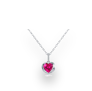 WOSTU Big Red Guardian Hearts CZ Pendant with 925 Sterling Silver Necklace