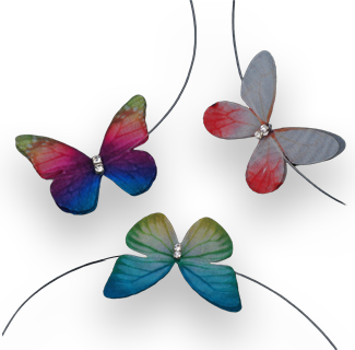 Multicolor Butterfly Pendant with Transparent Line Choker Necklace