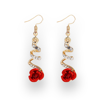 Fashionable Red Rose Drop Rhinestones Curved Earrings