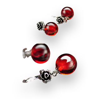 Red Garnet Earing with 925 Sterling Silver Base