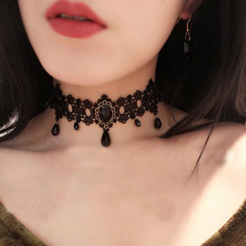 Gothic Victorian Fashion - Black Laced Tassel Tattoo Choker Necklace