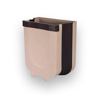 5L Wall Mounting Foldable Hanging Waste Bin (Brown)