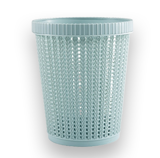 Rattan Style Trash Can (Blue)