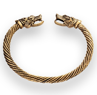 Manly Wolf Head Viking Bracelet Cuff (Gold)