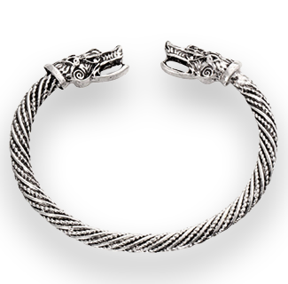 Manly Wolf Head Viking Bracelet Cuff (Silver)