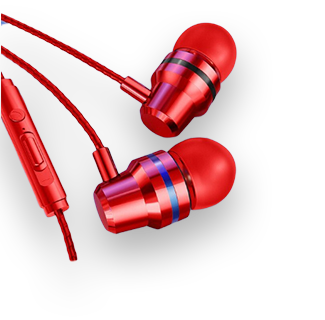 3.5mm Wired Stereo Earpiece (Red)