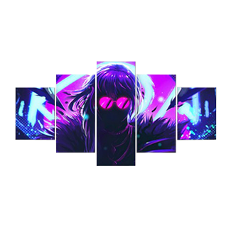 KDA Evelynn - 5 Panel Canvas Painting Wall Decoration