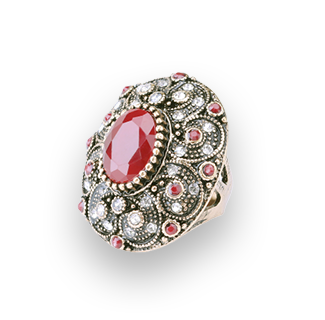 Classic Antique Cubic Zirconia Resin Bohemian Ring (Red)