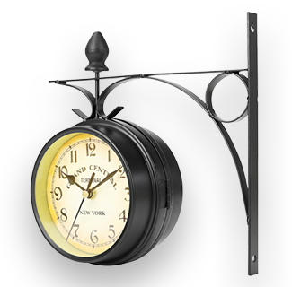 Retro Vintage Double Sided Wall Mounted Station Clock