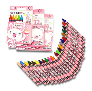 24 Pastels Colors Cartoon Creative Crayons
