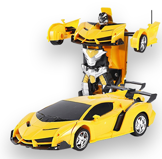 Yellow Remote Control Car Transforming Robot