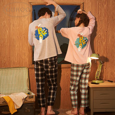 Gukoo The Shell We Bare Bear Spring/Autumn Cotton Couple Pajamas