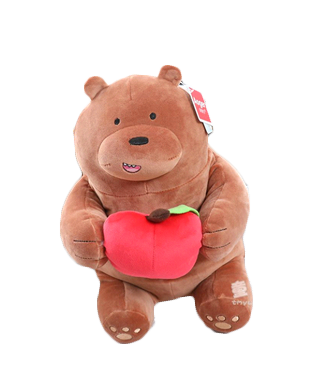 Aoger We Bare Bear Grizzly with Apple Plush Toy